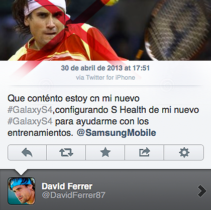 Tennis Player, David Ferrer tweeting about sponsored, Samsung on an iPhone