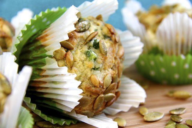 Savory Muffins with Ham, Feta and Fresh Basil