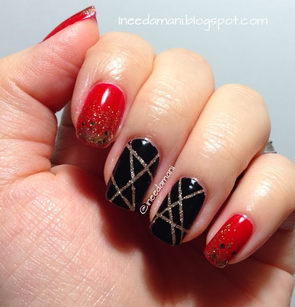 black and gold tape mani red and gold glitter gradient nails