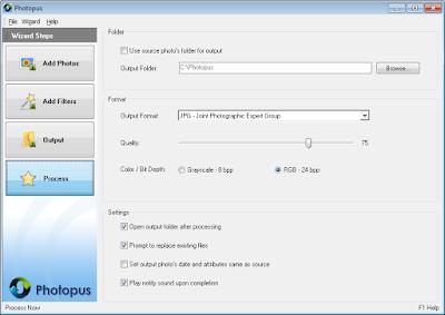 Photopus - 3 Definir formato e pasta de saída