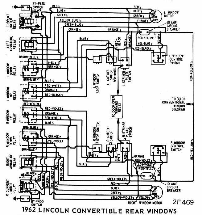 lincoln continental convertible 1962 rear windows wiring diagram