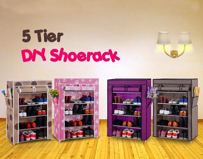 5 Tier DIY Shoerack with Waterproof Cover