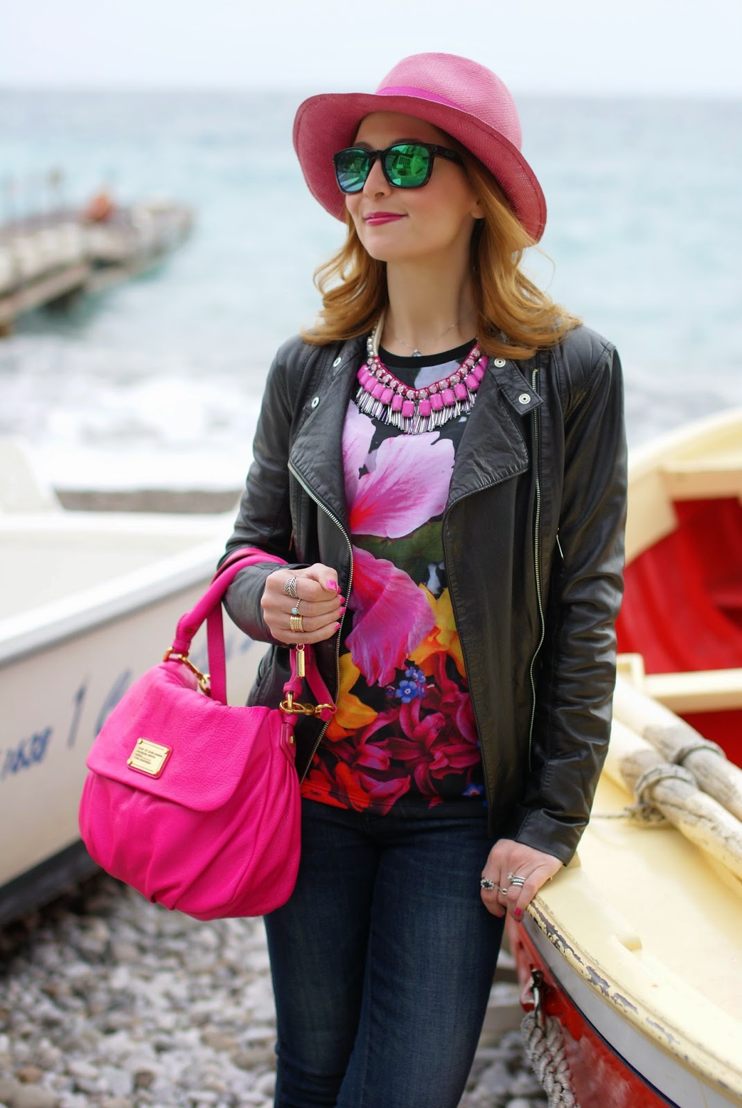 cappello paglia fucsia, Elisabetta Franchi leather jacket, Sodini collana fucsia, Marc by Marc Jacobs lil ukita pop pink bag, Nerano in Sorrento Coast, Fashion and Cookies, fashion blogger