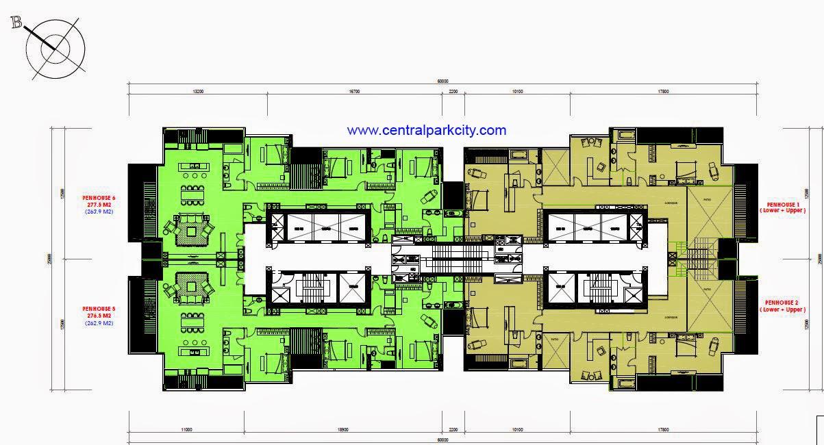Vinhomes Central Park Penthouse Mặt bằng tầng 36 - The Central 1 (C1)