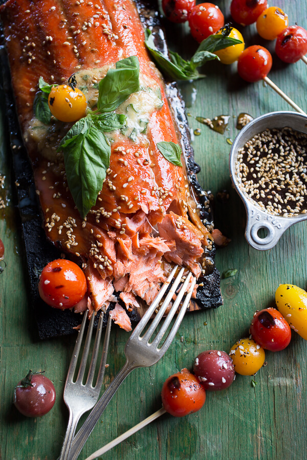 ... Grilled Sesame Salmon with Kimchi, Miso Butter and Grilled Tomatoes