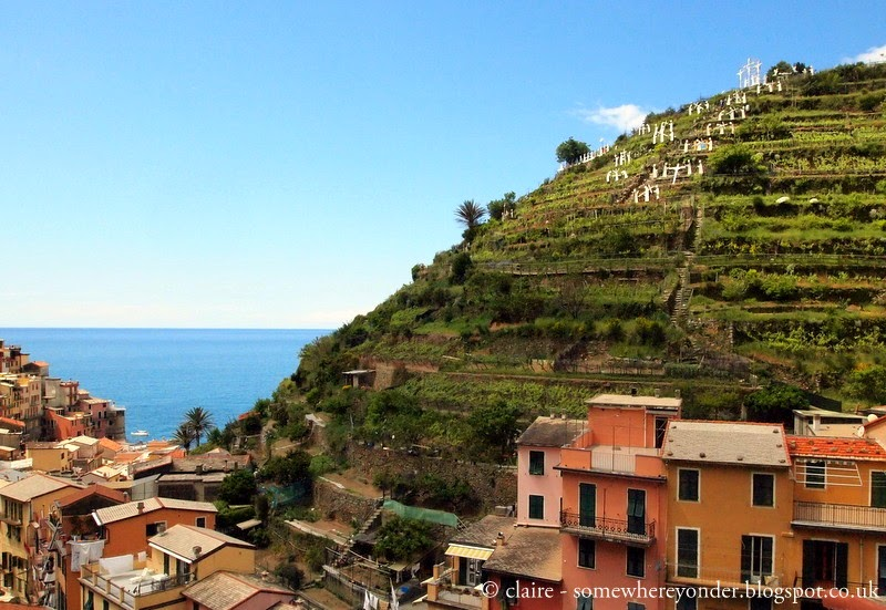 Manarola's permanent nativity scene overlooking the town ready to be lit up next Christmas