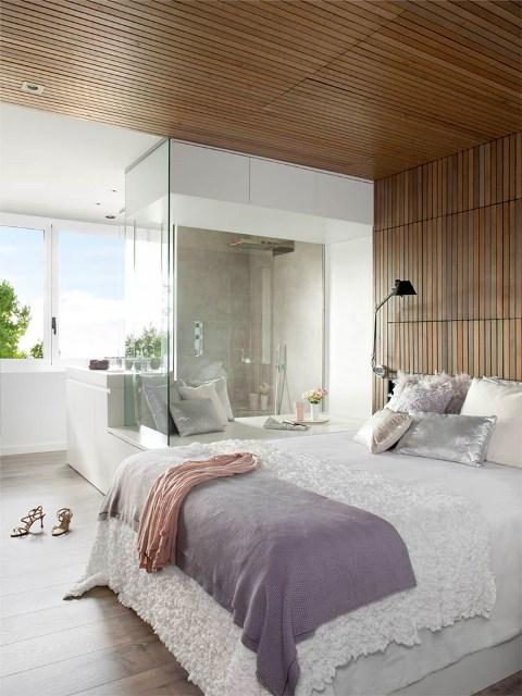 pared dormitorio revestida de madera