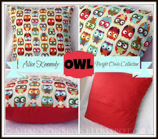 Cute, colorful Owl Pillow for home decor, children's room or baby nursery, unisex