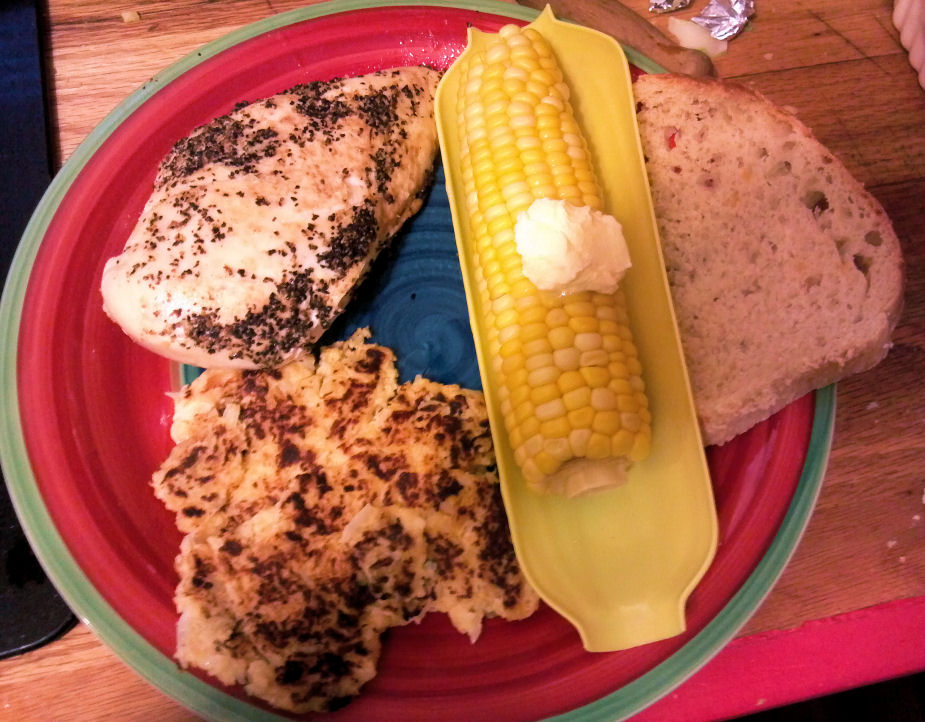 Lemon/Lime/Pepper Chicken. Corn, Cauliflower Pancake and homemade ...