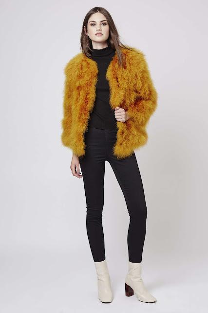 feather coat, marabou coat, yellow fur coat, topshop yellow coat, mustard fur coat,