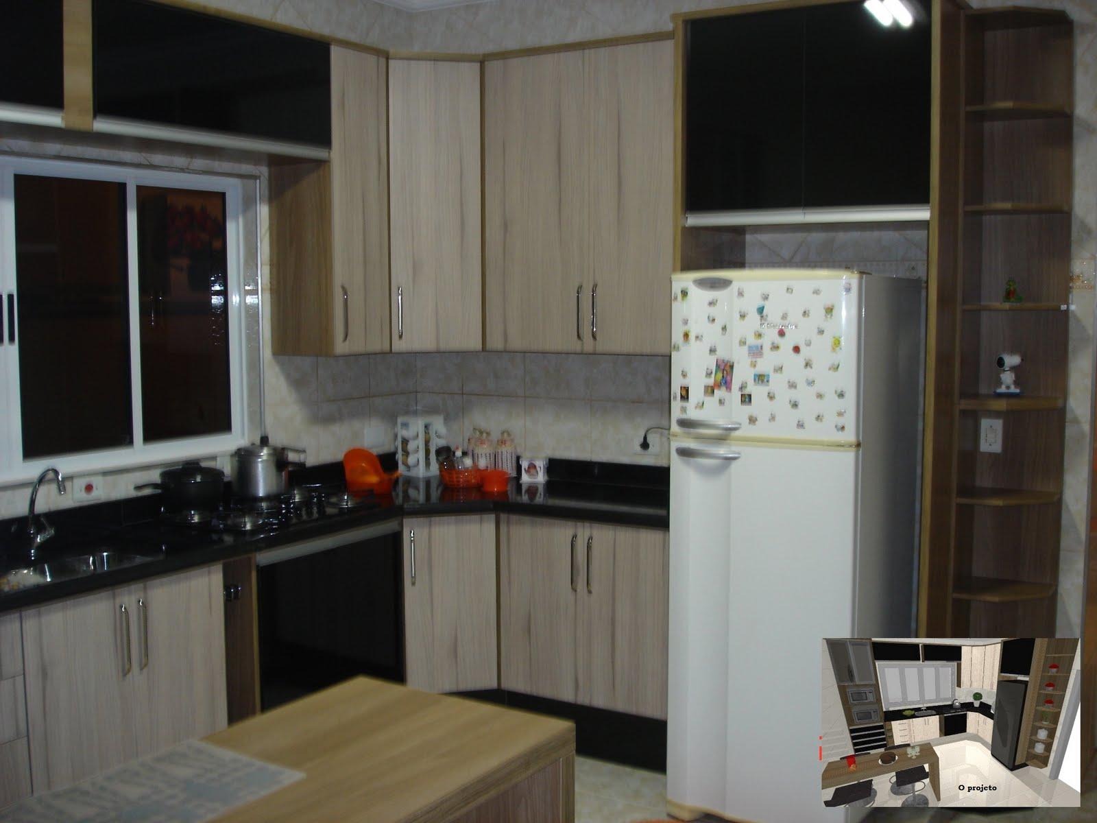 Cozinha na cor Griggio com detalhes em preto. Linha Reallizze  #5D4834 1600 1200