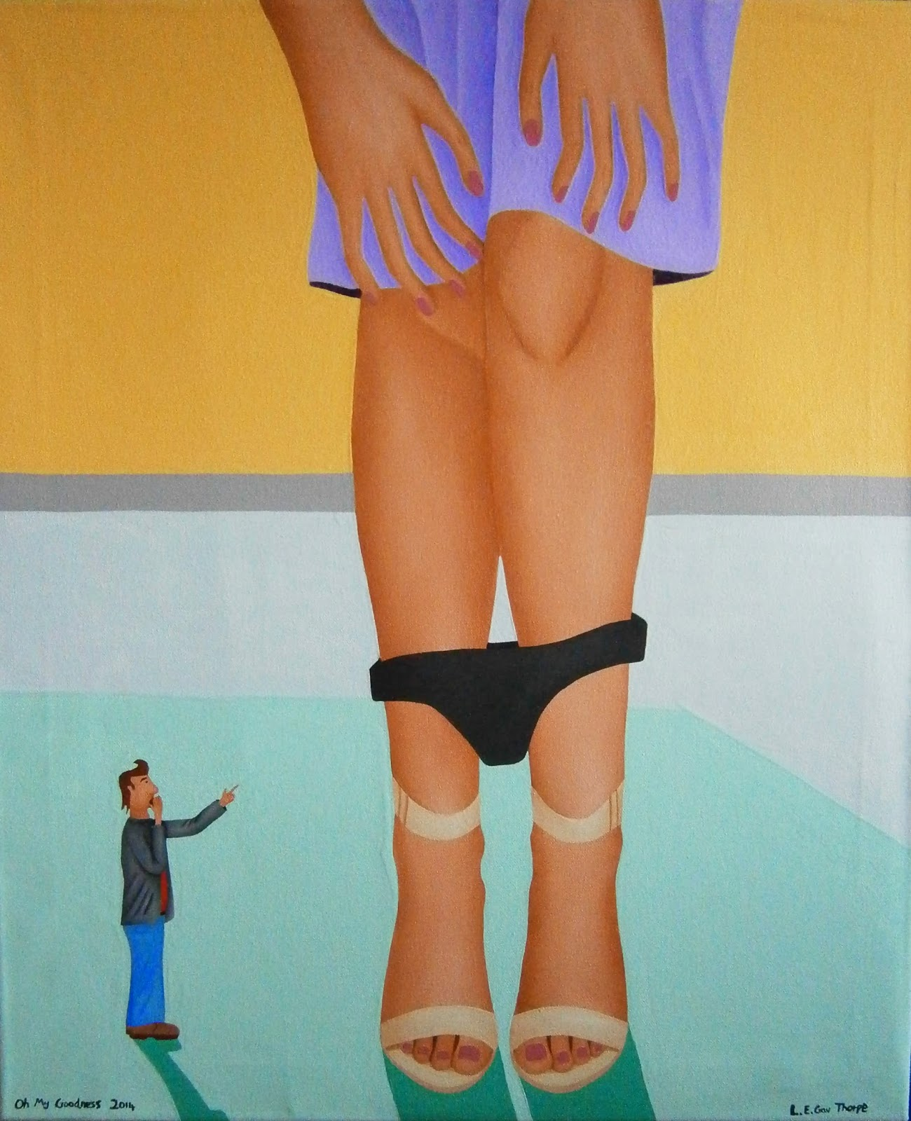 A shrunken man pointing at a woman whose knickers have fallen down.