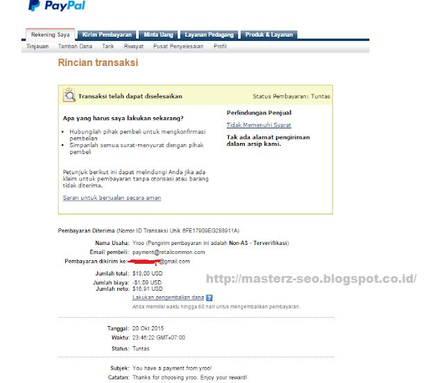 Pembayaran Yroo 20 Oktober