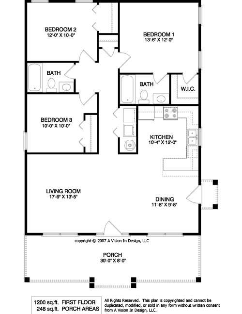 Small House Plans 1200 Sq FT