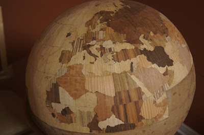 Wooden globe, Europe and Northern Africa