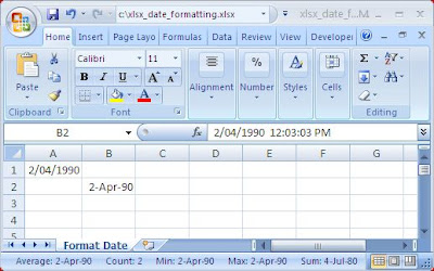 XLSX - Format Date - Apache POI Example Program - Java Output
