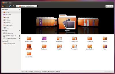Nautilus Elementary Ambiance Theme Ubuntu 11.04