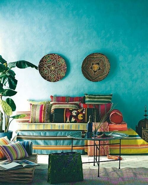 Boho Living Room Cream Carpet