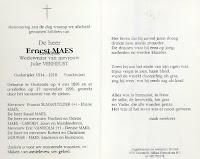 Bidprentje Ernest Maes 1896-1996
