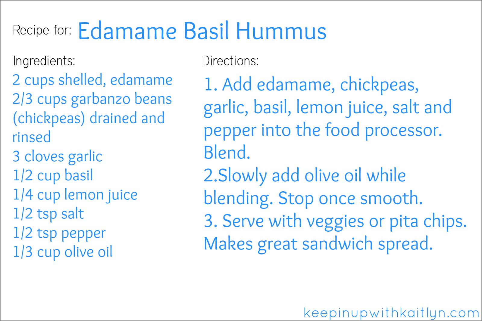 Edamame Basil Hummus recipe