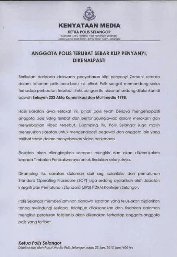 Kenyataan Ketua Polis Negara Isu Zamani Slam, info, terkini, hiburan, sensasi, berita, Zamani Slam, kontroversi Zamani Slam