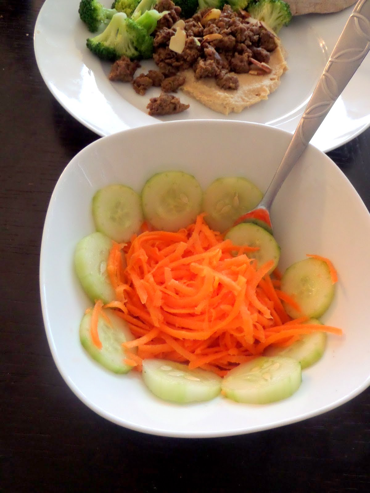 Simple Carrot and Cucumber Salad:  A 3 ingredient salad of carrots, cucumbers and lemon juice.  So simple yet so tasty.