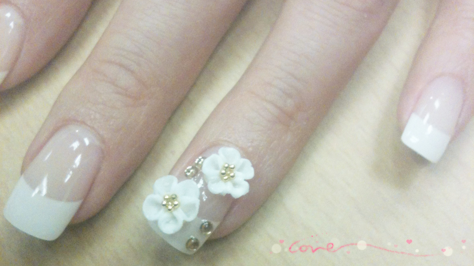 xhh713 Nails time! ^^: French white tips with 3D flower design