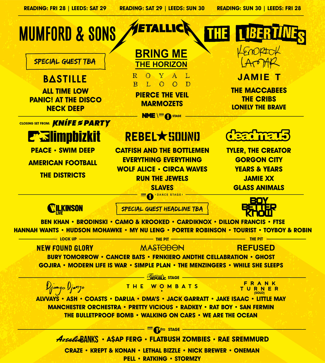 Leeds Festival Line Up 2015. Find out who's playing Leeds 2015