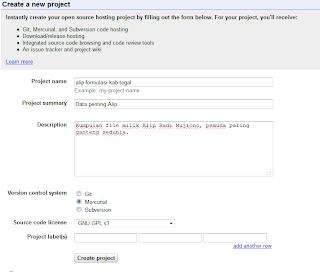 Cara mengisi form pada pembuatan situs File hosting Google code