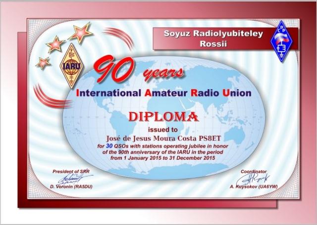 """Diploma """"90 years IARU» (SRR, Russia) - # 4.428"""