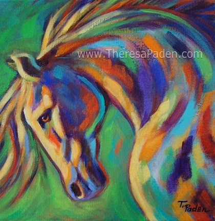 Bright Colorful Contemporary Horse Painting By Theresa Paden