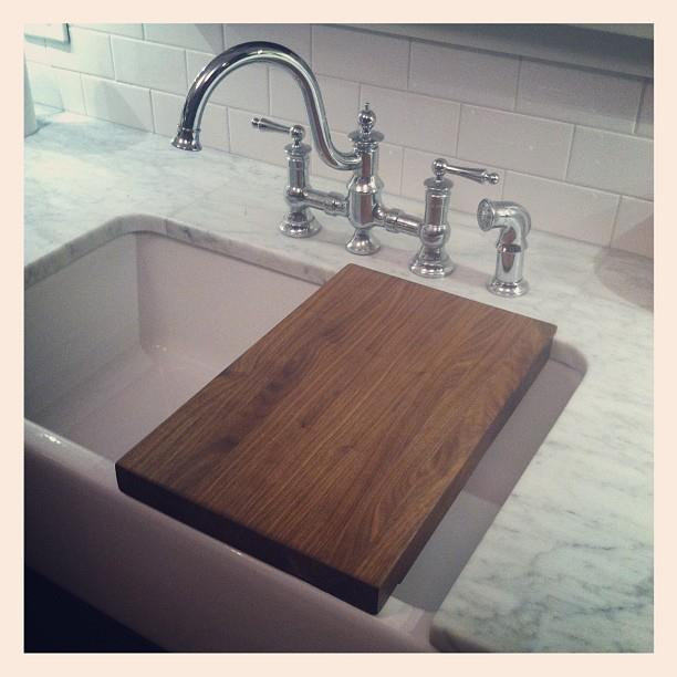 ... Cutting Board That Would Fit Over Beccau0027s Beloved Farmhouse Sink. We  Chose Walnut To Match The Kitchen Island, And Purchased The Material At  Schutte ...