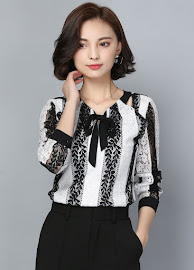 New 2017 Long Sleeve Black White Leave Lace Blouse