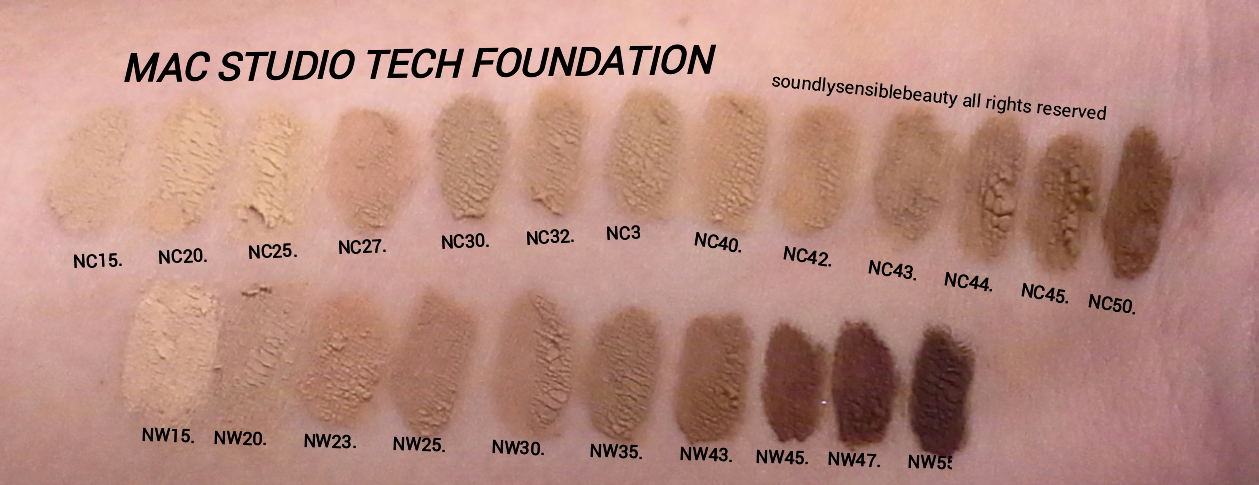 MAC Studio Tech Foundation; Swatches of Shades- NC15, NC20, NC25, NC27, NC30, NC35, NC40, NC42, NC43, NC44, NC45, NC50, NW15, NW20, NW23, NW25, NW30, NW35, NW45, NW47, NW50,
