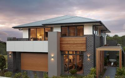 moderna fachada en casa de dos pisos