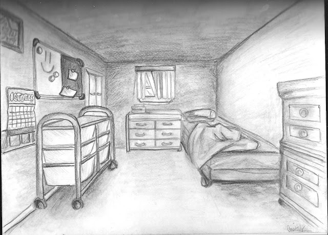 Perspective drawing examples nata helper for Bedroom 2 point perspective
