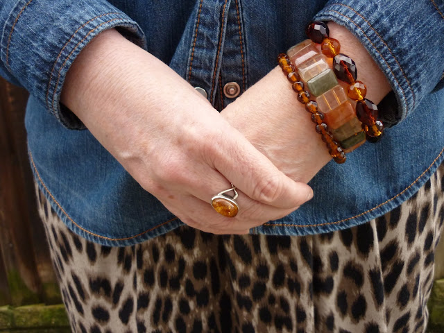 Amber & Silver Ring, Thrifted Brown, Amber & Green Bracelets | Petite Silver Vixen
