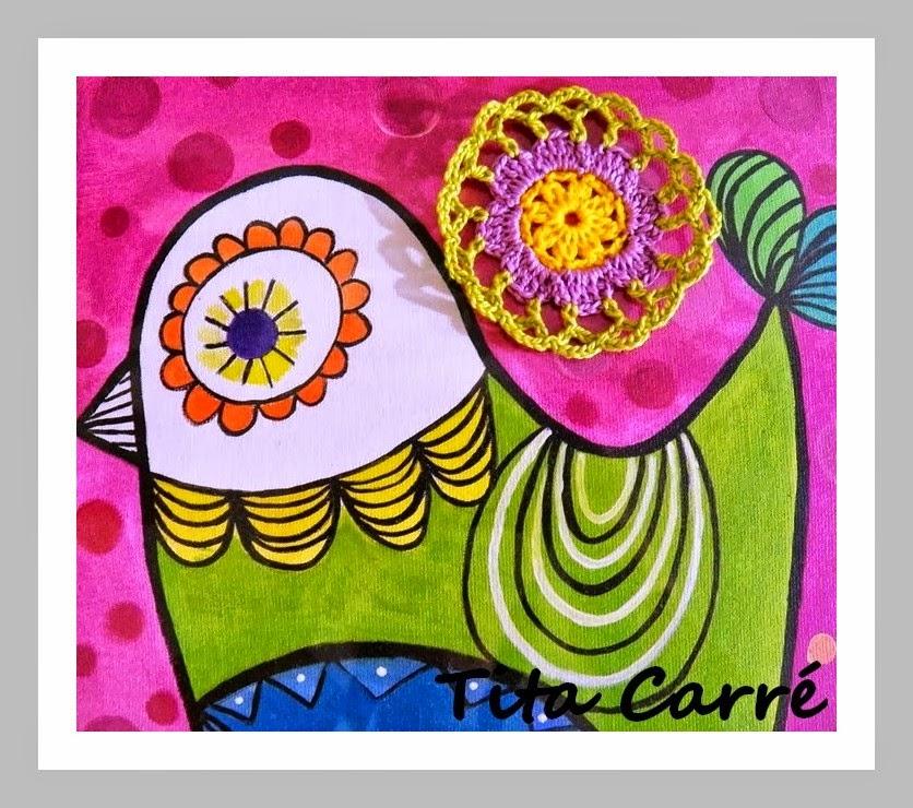 Crochet sobre Pintura: Com muita Poesia