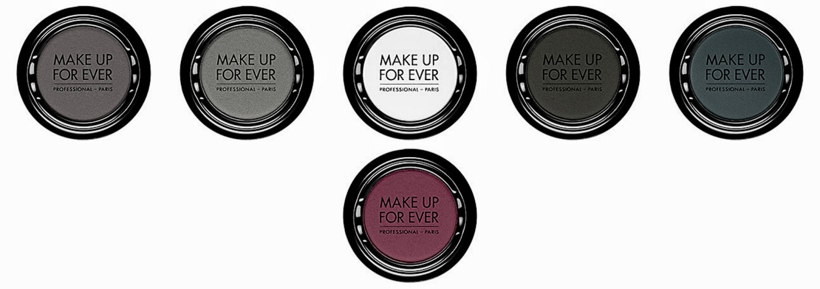 Make Up For Ever Artist Shadow Top from left: M106 Slate; M110 Cement; M126 Chalk; M100 Black; M-240 Prussian Blue  Bottom: M228 Eggplant