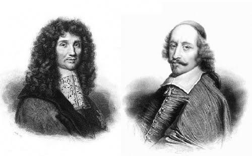 Jean Baptiste Colbert (izquierda) y el Cardenal Mazarino (derecha)