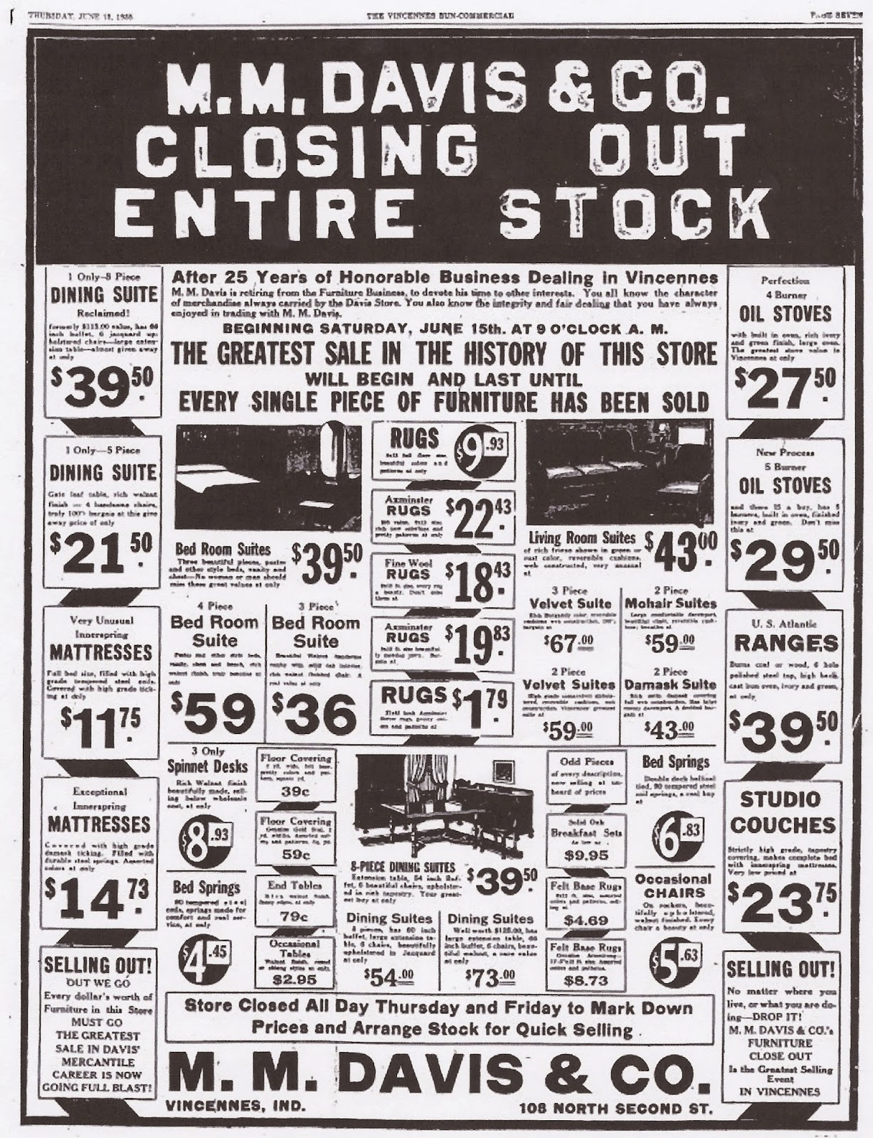 An Advertisement For Miltonu0027s Furniture Store.