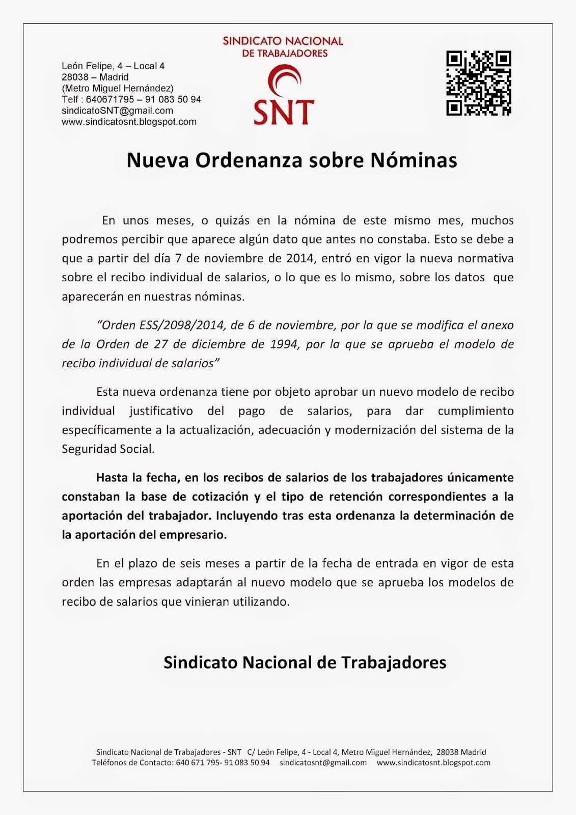 Sindicato nacional de trabajadores snt nueva ordenanza for Modelo de nomina de trabajadores