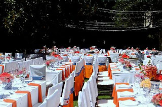 Wedding decoration, orange saloons