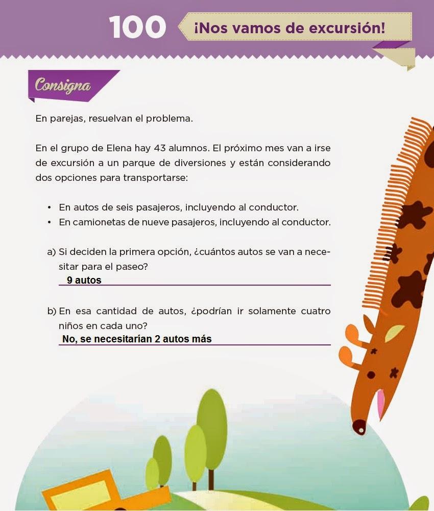 Respuestas ¡Nos vamos de excursión! - Desafios matemáticos 4to Bloque 5 2014-2015