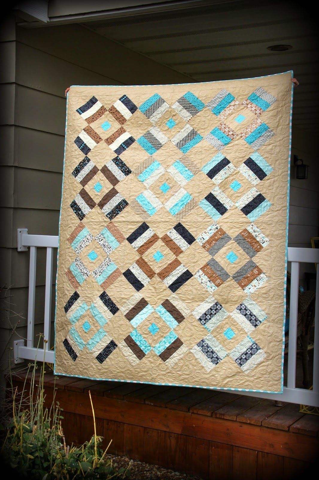 Elementary by Sweetwater jelly roll used to make lap quilt