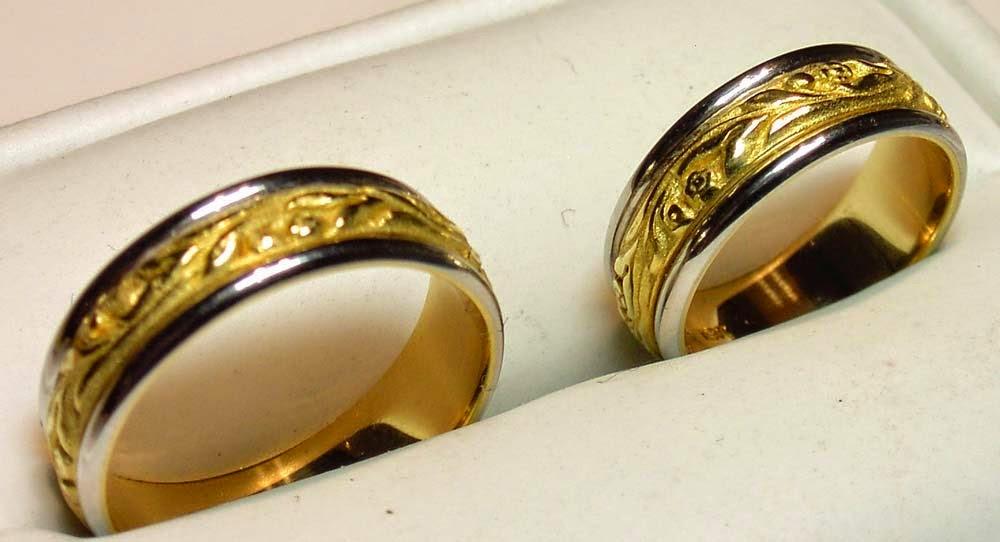 Men women matching wedding ring sets two tone for Two tone wedding rings for women