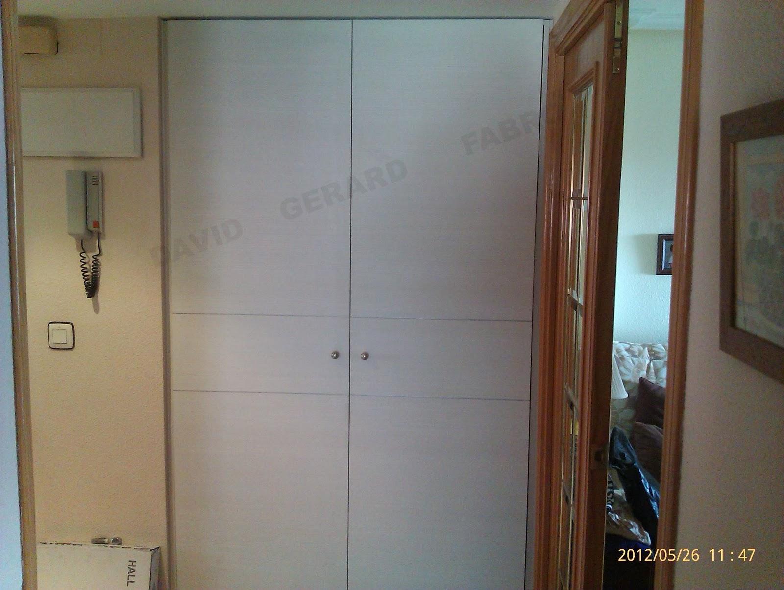 Puertas de armario con bisagras ocultas con adornos de aluminio.