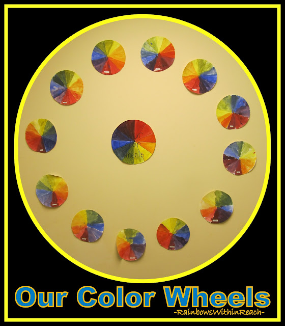 photo of: Color Wheels on the Bulletin Board in Kindergarten via RainbowsWithinReach