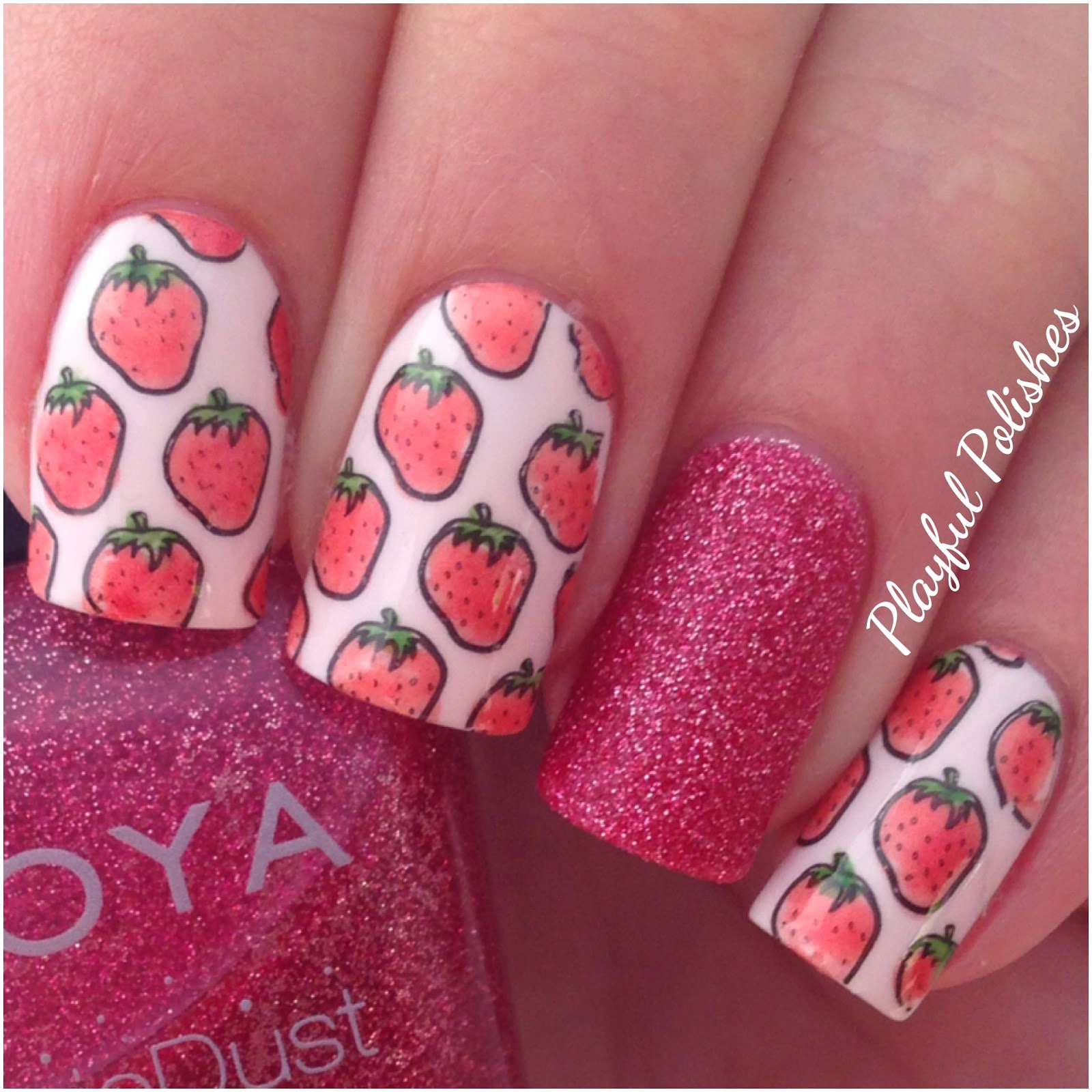 Playful Polishes: ADVANCED STAMPING/STRAWBERRY NAIL ART
