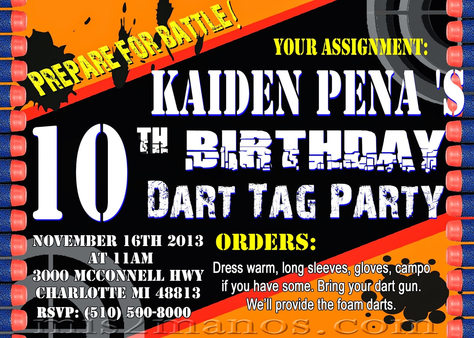 Mis 2 Manos: Made by My Hands: Nerf Dart Party Invitations